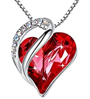 "Leafael""Infinity Love"" Heart Pendant Necklace Made with Swarovski Crystals Siam Ruby Red January July Birthstone Jewelry Gifts for Women, Silver-tone, 18""+2"", Presented by Miss New York from Leafael"
