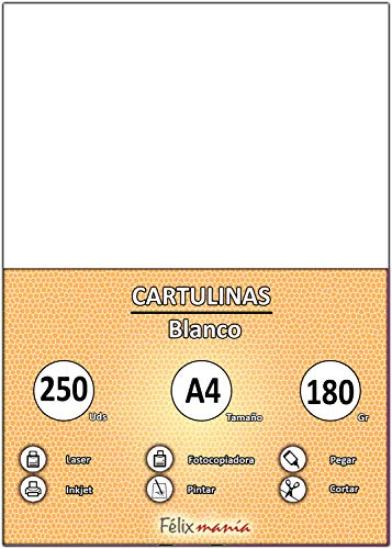 Pack 250 Cartulinas Tamaño A4 180g Blanco