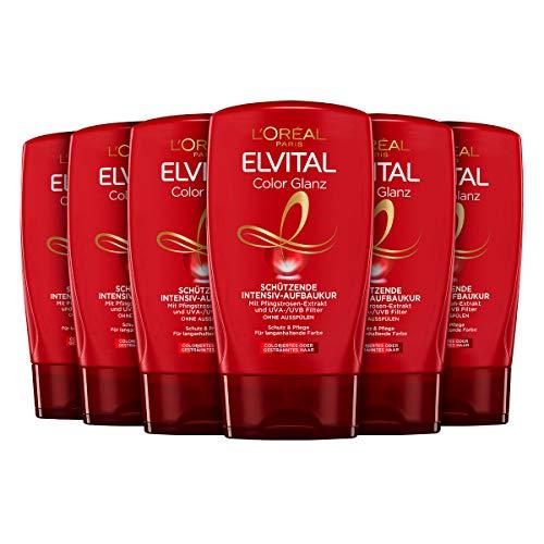 L'Oréal Paris Elvital Farbschutz Haarkur ohne Ausspülen, Für coloriertes oder gesträhntes Haar, Ohne Parabene, Color-Glanz Intensiv-Aufbaukur, 6 x 125 ml
