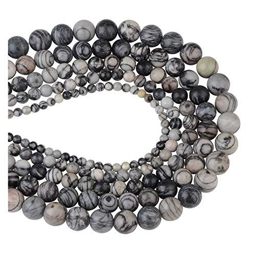 HETHYAN Granel 4,6,8,10,12mm Cuentas de Piedra Natural del Ojo del Tigre Negro Lava los Granos de Piedra Flojos for la Toma de Bricolaje Collar de Joyas