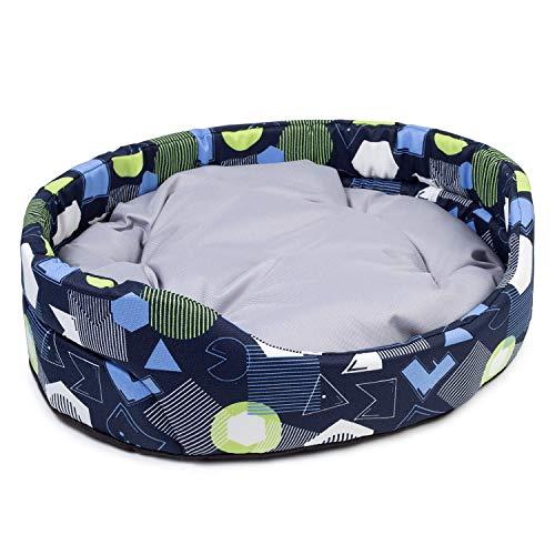 BOUTIQUE ZOO Hundebett | Oval Hundekissen für Hunde oder Katzen | Kratzfest Hundeliege mit Kissen | Hundekorb | Waschbar Polyester (S: 46 x 40 cm, Dunkelblau mit Muster)