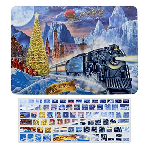 Laptop Case Protective Shell Set Polar Express Plastic Hard Shell Case & Keyboard Cover Compatible with MacBook Air 13 (models: A1369 & A1466)