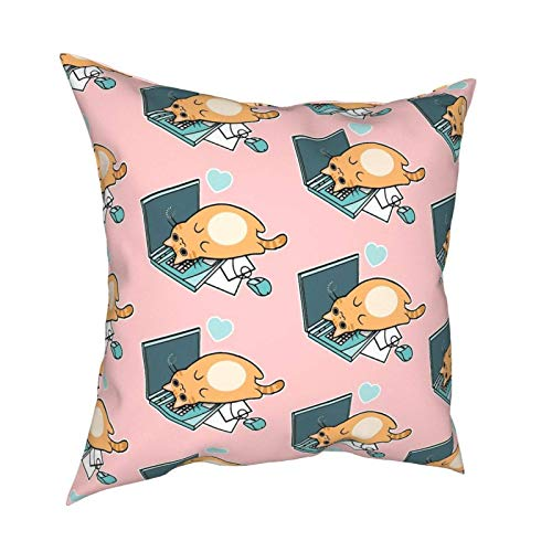 SHENGANG Cute Laptop Cat Tapestry Pillow Case Fashion Square Pilloase Decor Throw Pillow Cover 18 X 18 Inch 45 X 45 cm