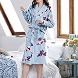 XYZMDJ Vestido de Noche para Mujer, de Manga Larga, Ropa Informal para el hogar, Albornoz, Pijamas cómodos y cálidos, Que engrosan (Color : A, Size : One Size)