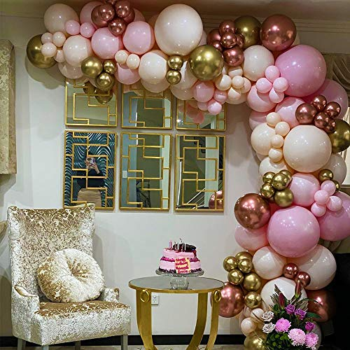 171pcs DIY Balloons Garland with Various Sizes Pink Blush White Balloons Chrome Shiny Metallic Rose Gold Latex Balloons Perfect for Birthday Party Bridal Baby Shower Wedding Party Decorations
