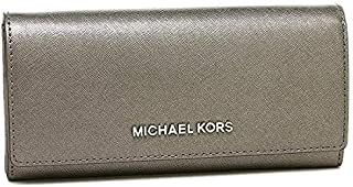 Michael Kors Leather Jet Set Travel Carryall Lettering Flap Wallet In Silver