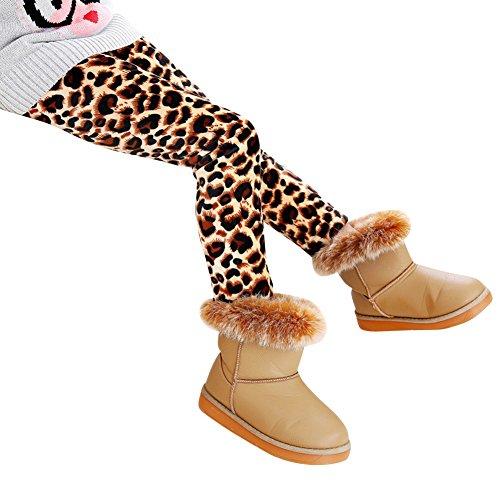 Niña Flor Impresión Leggings Elástico Pantalones Leggins Largos Gruesos Para Otoño Invierno Leopardo 120