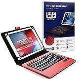 Cooper Infinite Executive Coque pour Tablettes de 9 à 10,5 Pouces | Étui Universal Fit | Clavier sans Fil Bluetooth 2-en-1 et Housse de Protection en Cuir (Rouge)