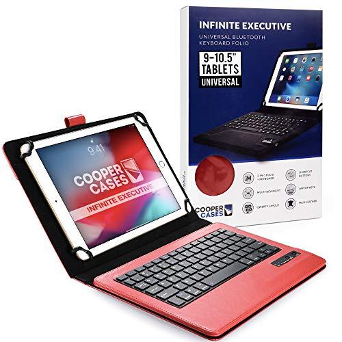 Cooper Infinite Esecutiva Custodia Tastiera per 9-10.5 pollice Tablet | Universale 2-in-1 Bluetooth Wireless Keyboard e Libro Foglio Case Cover (Rosa)