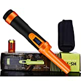 LCD Display Pinpoint Metal Detector Pinpointer - Fully Waterproof to 8-15 feet with orange color Include a 9V Battery,360°Search Treasure Pinpointing Finder Probe with Belt Holster for Adults and Kids