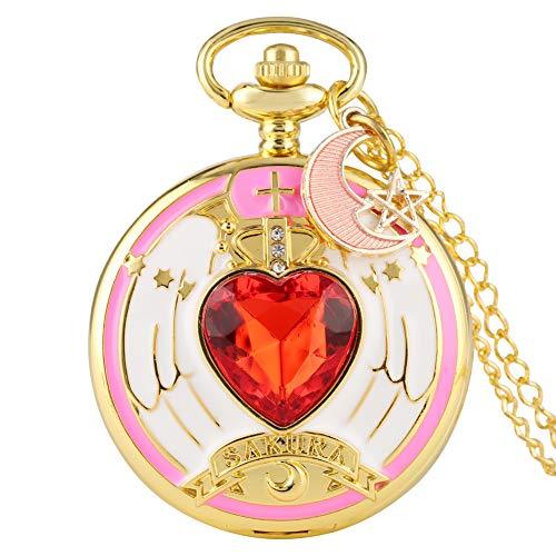 Fantastisches Muster, Zifferblatt Taschenuhr für Mädchen, exzellente Magische Mädchen in Herzform, Diamant-Gehäuse, Taschenuhren für Kinder, zartrosa Mond Anhänger Uhr für Teenager