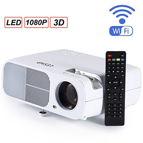 LESHP Beamer, 3D WiFi HD LED Projektor mit 2600 Lumen, tragbares LCD HDMI Heimkino Multimedia Smartphone mit USB SD HDMI VGA, Heimkino, Spiele, Video, TV, Movie, Euro-Stecker weiß