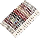 16 Piezas Horquillas de Diamantes de Imitación Pinzas de Pelo de metal Pasador de Pelo de Cristal de Doble Fila para Mujeres Niñas (Multicolor)