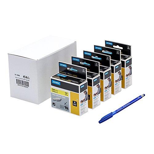 5X Dymo 18052Rhino étiquettes industrielles Heat Shrink Tube 6mm x 1.5m–Noir sur Jaune + PAPERMATE Stylo Cadeau