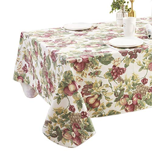 Fruit Pattern Flannel Backed Vinyl Tablecloth Waterproof Wipeable,Stain-Resistant Elegant PVC Table Cloths Rectangle or Square 60X102 Inch