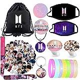 BTS Fans Bangtan Boys Bag Gift Sets for Army Including Drawstring Bag Backpack,BTS Stickers,Lanyard,Face-Masks,Keychain,Necklace,Bracelets,Phone Ring Holder, Button Pins
