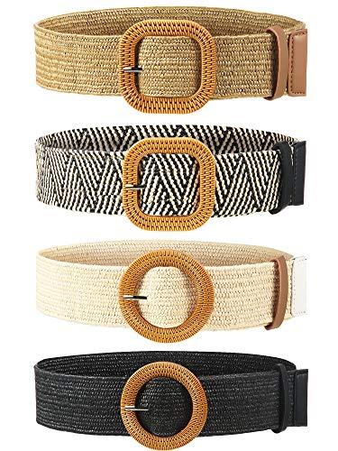4 Piezas Cinturones de Cintura Elástico de Tejido de Paja Cinturón de Vestir Flaco de Mujer Banda de Vestido de Cintura con Hebilla de Estilo Madera