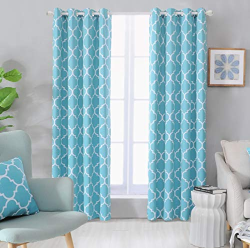 Blackout Curtains Turquoise for Living Room Thermal Insulated Room Darkening Window Curtain Panels with Grommets (52 x 84, Turquoise)