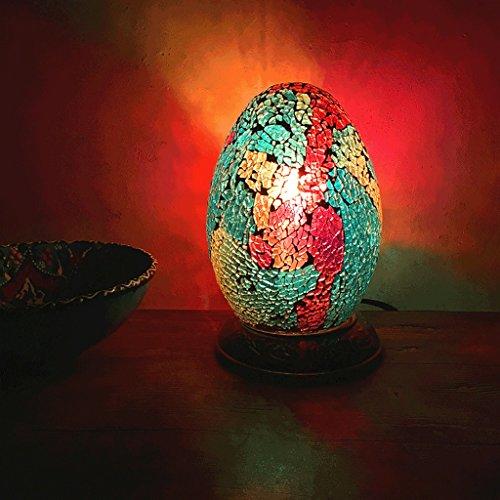 PIAOLING Ägyptische Farbe Ei Tischlampe, Retro romantische handgefertigte Glas Lampe, Schlafzimmer Buch Nachttisch Licht
