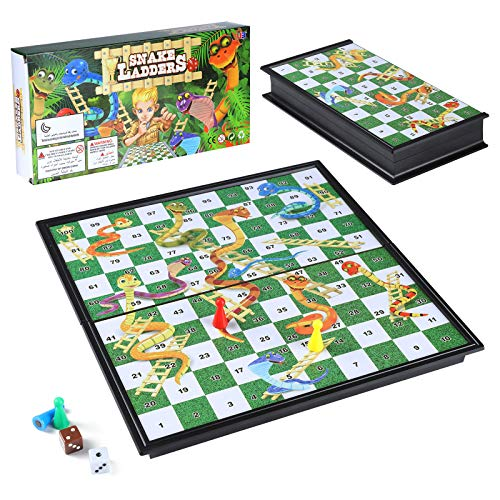 Diealles Shine Snakes and Ladders, Schlangen und Leitern Brettspiel Traditionelle Kinder Spiele, Traditionelles Leiterspiel