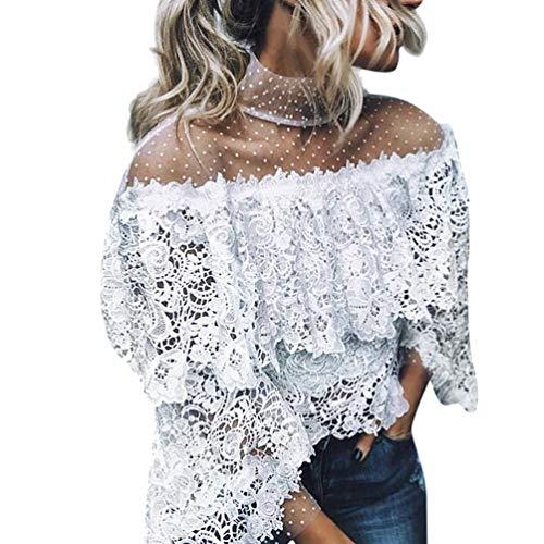Linkay T Shirt Damen Kurz Schlaghülse Bluse Tops Gedruckter Punkt Oberteile Mode 2019 (Weiß, Medium)