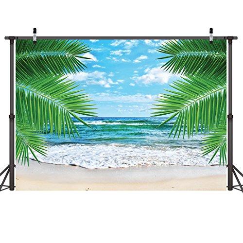 LYWYGG 7X5FT Playa Tropical Vinilo Banner Telón De Fondo para Fotografías Foto Telones De Fondo Banners Pared Cubierta Cortina Mantel Decoracion CP-7