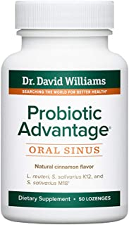 Dr. David Williams' Probiotic Advantage Oral Sinus Probiotics for Your Mouth, Teeth, and Gums, Sugar-Free, Natural Cinnamon Flavor, 50 Lozenges (50-Day Supply)