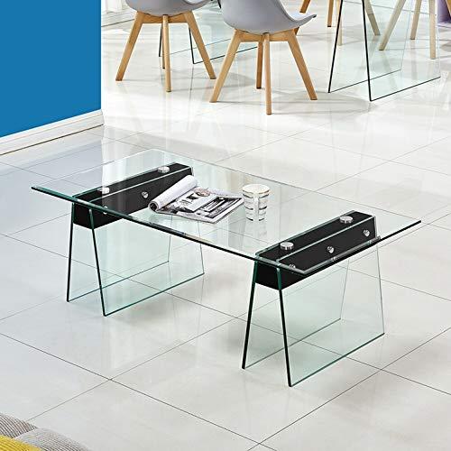 Tavolino da Caffè Salotto Cucina Soggiorno Ufficio Ingresso Consolle in Vetro Temperato e Legno, Tavolino Luxury Z-80, Design e Moderno, Vetro Temperato Trasparente Elegante, 120 x 60 x 42 cm