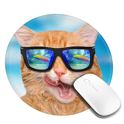 DPQZ Alfombrilla de ratón redonda antideslizante con diseño de gato divertido con gafas de sol, base de goma, alfombrilla de ratón para juegos de ordenador portátil Coumputer