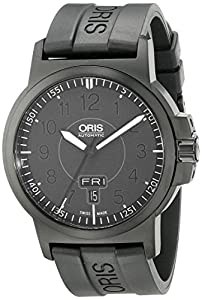 Oris Men's 73576414764RS BC3 Sportsman Day Date Black DLC Case and Rubber Strap Watch image