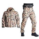 Chaqueta + Pantalones Impermeables de Camuflaje Polar Softshell Militar táctico + Pantalones...