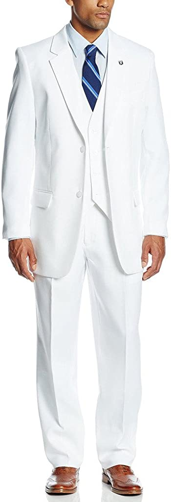 XDress Men's 3 Pieces Side Vents Groom Wedding Long Suit Vest and Trousers