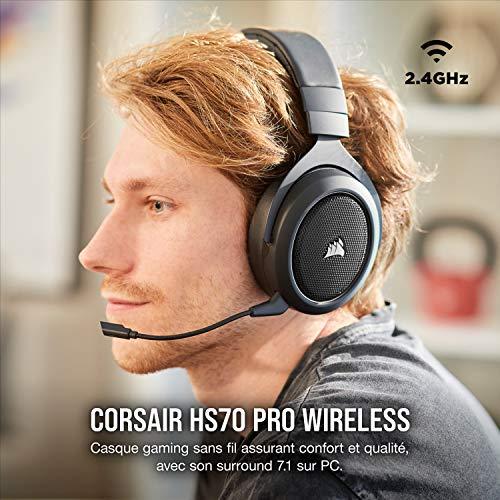 Corsair HS70 PRO Wireless Casque de Gaming Son surround 7.1, Sans-fil 2,4 GHz à faible latence, 12 mètres Portée, Léger, Unidirectionnel Antibruit Microphone avec PC, PS4 Compatibilité - Noir