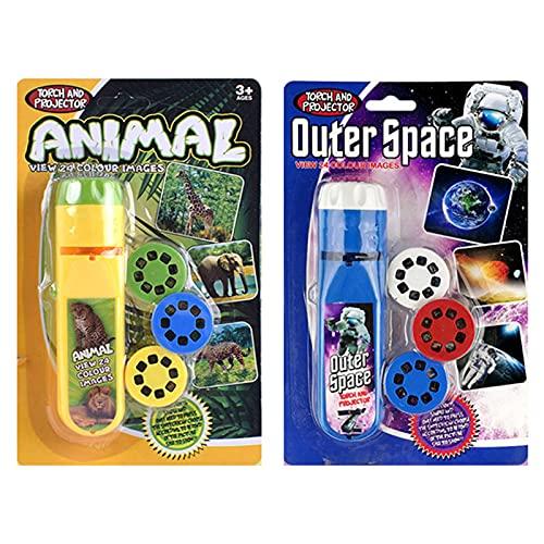 Linterna Dinosaurios para Niños,Proyector de Diapositivas Antorcha Luz de Proyección Antorchas Pequeñas Lámpara Pared Techo Tienda Educativo(2 Juegos, Espacio + Animal)