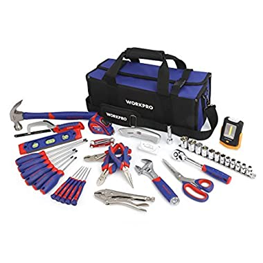 WORKPRO 54-piece Home Repair Tool Kit, Household Tool Set for Home Maintenance with Compact Tool Bag, Free Bonus Work Light