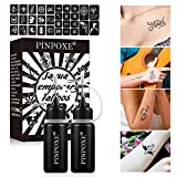 Encre Tatouage Temporaire, Tattoo Ink Set, Jagua Gel, Tatouage Temporaire, 2pcs*10ml Temporary Tattoo Ink, Gel de Tatouage, Jagua Fruit Gel/Ink avec des 2pcs Pochoirs de Tatouage Design Spécial