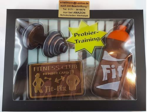 03#090621 Schokolade Fitness Set, Tortenverzierung, Hantel, Flasche, Karte,
