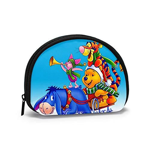 Winnie The Pooh y Tigger despiertan el Sol para Navidad Mini Bolsa de Almacenamiento de Cambio de Llaves para Hombres Tarjeta de identificación de Billetera de Billetes para Mujeres