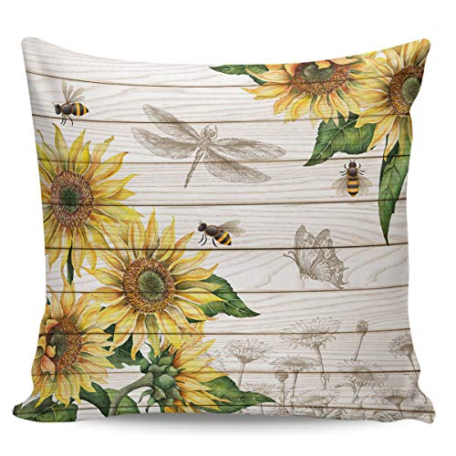 Winter Rangers Decorative Throw Pillow Covers- Sunflower Bee and Dragonfly on Rustic Wooden Board Ultra Soft Pillowcase Comfy Square Cushion Cover Case for Sofa Bedroom, 24' x 24'