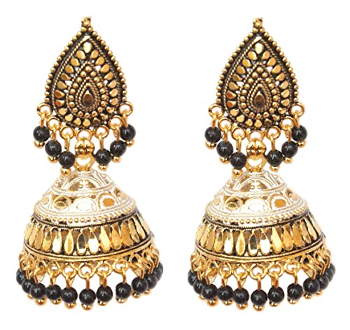 Pahal Bollywood - Pendientes largos tradicionales de oro Jhumka con perlas blancas y negras