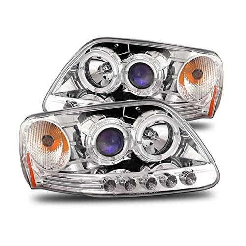 SPPC Chrome Projector Headlights Assembly with Halo Rings for Ford F-150 - (Pair) Driver Left and Passenger Right Side Replacement Headlamp