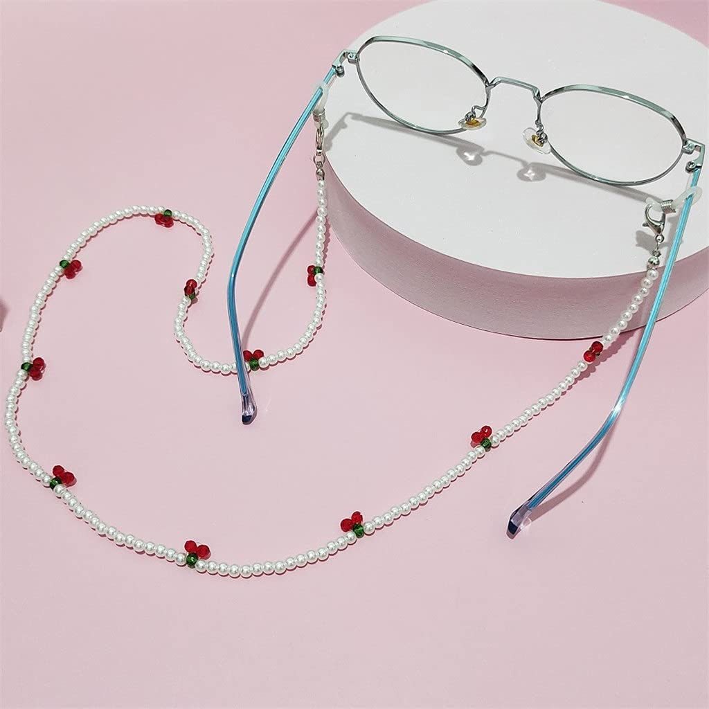 GYZX Crystal Cherry Glasses Chain Cute Transparent Beads Pear Chain Neck Straps Sunglasses Lanyard Women Jewelry (Color : C, Size : Length-70CM)