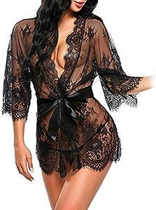 Erótica Kimono de Encaje Transparente con Cinturón Satén, Sexy Conjunto de Lencería con Mangas Largas Ropa Interior de Dormir Camisón Traje de Baño para Mujer Damas + Tanga G-String (Negro)