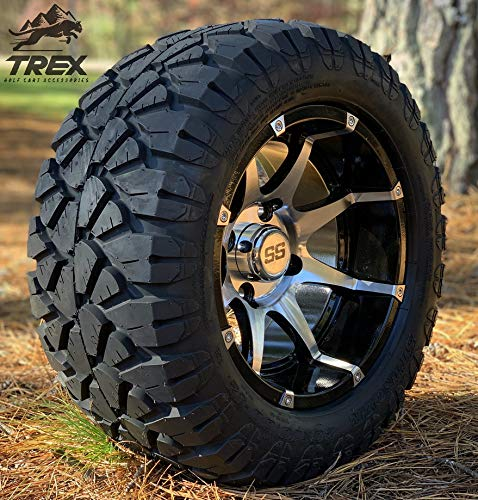 12' BANSHEE Black/Machined Aluminum Wheels and 20x10-12 STINGER All Terrain Tires - Set of 4