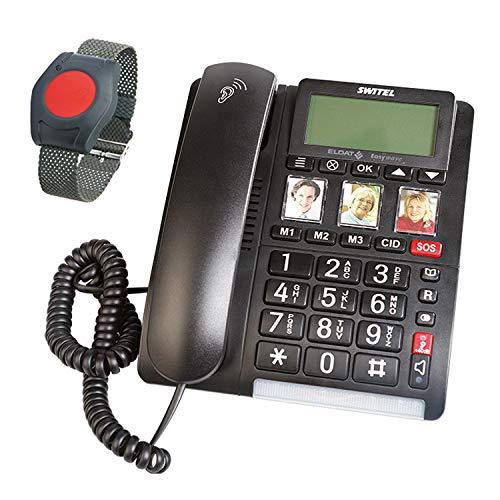 ELDAT Easywave APF01: Hausnotruf Telefon mit Notruf Armband; Festnetztelefon schnurgebunden mit großen Tasten, Notrufknopf und Funk Notrufarmband; Notruftelefon für Senioren; Seniorentelefon mit SOS