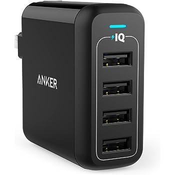 Anker PowerPort 4 (40W 4ポート USB急速充電器) 【PSE認証済 / PowerIQ搭載 / 折りたたみ式プラグ搭載】iPhone&Android各種対応 (ブラック)