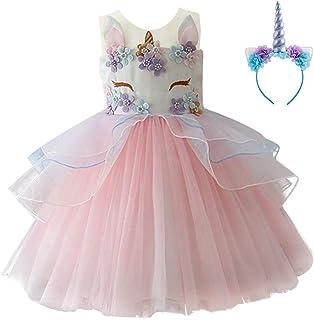987b9e82df99 1-10 Years Flower Girls Unicorn Costume Pageant Princess Party Tutu Dress  with Headband