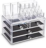 iPEGTOP Acrylic Clear Make Up Organiser Cosmetic Storage Box Display Makeup Case, 20 Sections with 4 Drawers, Diamond Drawer Handle