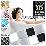 Grandora 7 Stück 25,3 x 3,7 cm schwarz weiß Silber Fliesenaufkleber Design 16 I 3D Mosaik Fliesenfolie Küche Bad Wandaufkleber Fliesensticker Fliesendekor W5423
