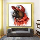 KWzEQ Leinwanddrucke Roter Hund in Hutplakaten und Wandbildern für Wohnzimmerdekoration Wohnkultur40x40cmRahmenlose Malerei